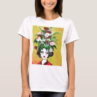 花の芸者の白のTシャツ Tシャツ