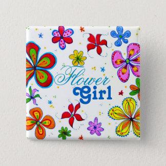 花の芸術のフラワー・ガールの文字のPinback大きいボタン 5.1cm 正方形バッジ