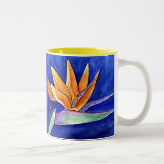 花の芸術の絵画のマグまたはコップ極楽鳥 ツートーンマグカップ