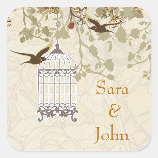 花の茶色の鳥籠、愛鳥の封筒用シール スクエアシール
