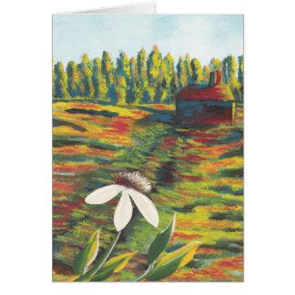 花の草原及び掘っ建て小屋の絵画 カード