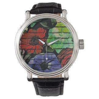 花の落書きの腕時計 腕時計