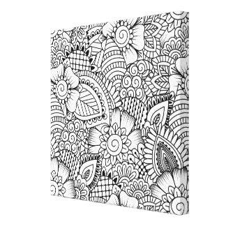 花の落書きパターン6 キャンバスプリント