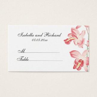 花の蘭のモダンな結婚式の座席の座席表 名刺