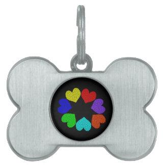 花の虹愛ハートのペットタグ ペットネームタグ