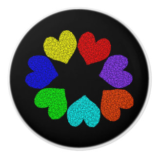 花の虹愛ハートの陶磁器のノブ セラミックノブ