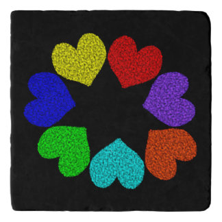 花の虹愛ハート石造りのTrivet トリベット