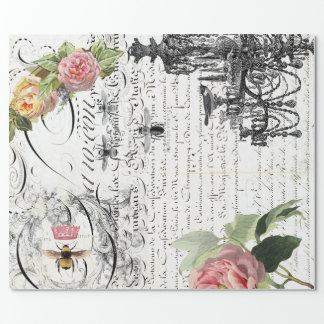 花の蜂の原稿の包装紙 ラッピングペーパー