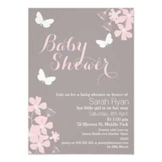 花の蝶女の子のベビーシャワーの招待状 カード