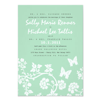 花の蝶結婚式招待状 カード