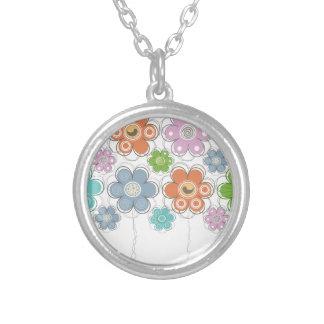 花の装飾 シルバープレートネックレス