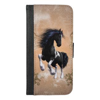 花の要素を持つ素晴らしい野生の馬 iPhone 6/6S PLUS ウォレットケース