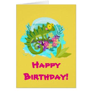 花の誕生日の緑の熱帯トカゲ グリーティングカード