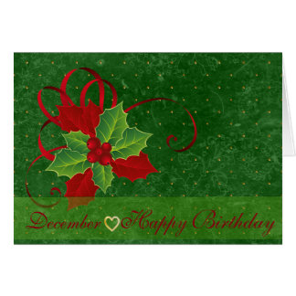 花の誕生日の12月のヒイラギの言語 グリーティングカード