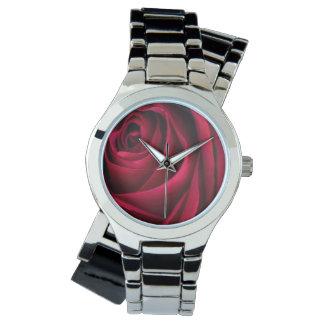花の赤いバラ 腕時計