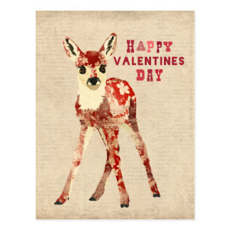 花の赤い子鹿のバレンタインデーの郵便はがき ポストカード