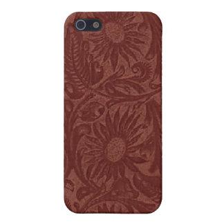 花の赤い用具の革Pern iPhone 5 ケース