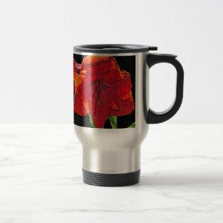 花の赤のアマリリス トラベルマグ