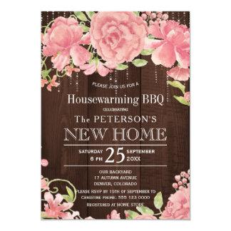花の赤面のばら色のシャクヤクの素朴な引っ越し祝いパーティーbbq 12.7 x 17.8 インビテーションカード