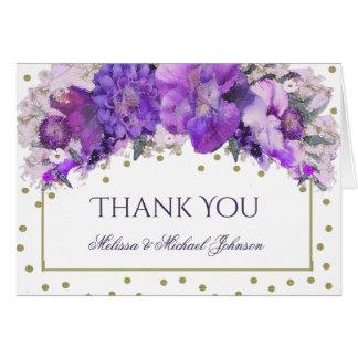 花の金ゴールドの紙吹雪の紫色は感謝していしています ノートカード