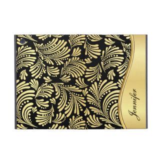 花の金ゴールドの黒のフォリオのiPad Miniケース iPad Mini ケース