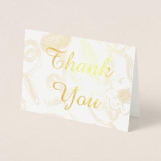 花の金ゴールドホイルのサンキューカード 箔カード