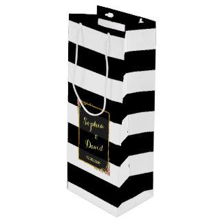 花の金ゴールドホイルのストライプの結婚式のワイン ワインギフトバッグ