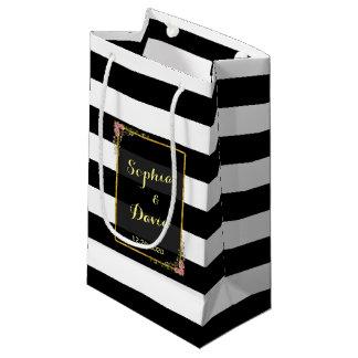 花の金ゴールドホイルのストライプの結婚式の引き出物のバッグ スモールペーパーバッグ