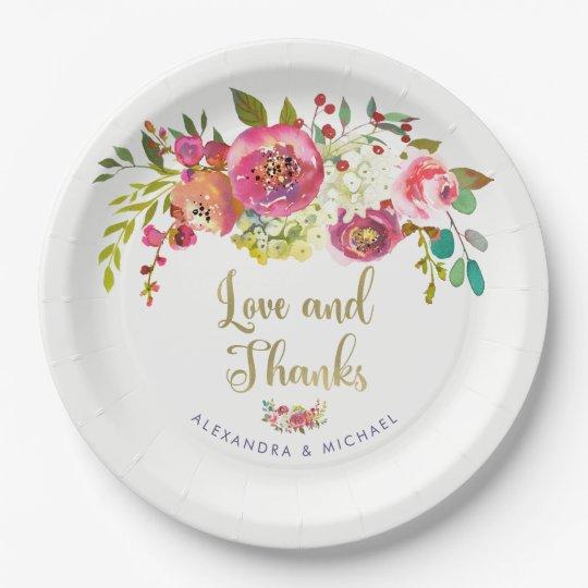花の金ゴールド の水彩画の結婚式の愛および感謝 ペーパープレート