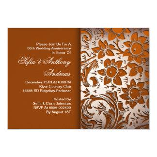 花の銀製の結婚記念日 カード