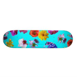 花の青いスケートボード スケボーデッキ