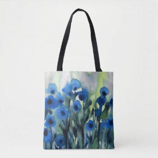 「花の青い分野」の抽象的な水彩画 トートバッグ