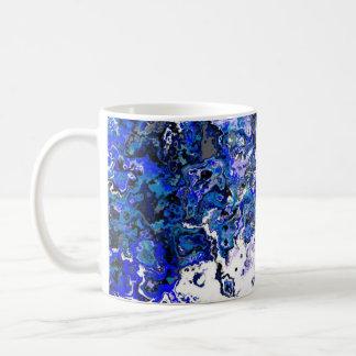 花の青い渦巻デザイナーマグ コーヒーマグカップ