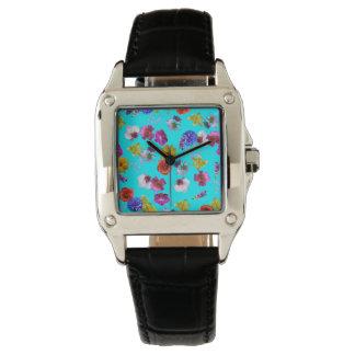 花の青い腕時計 腕時計
