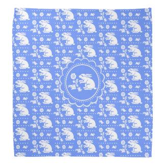 花の青および白のヴィンテージのバニーウサギ バンダナ