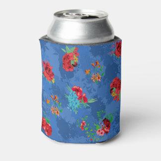 花の青く季節的なパターン。 バラ、デイジー 缶クーラー