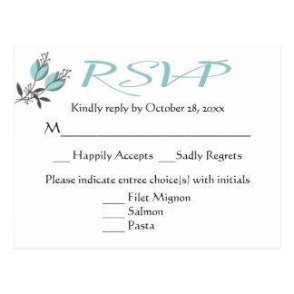 花の青RSVPの花の結婚披露宴 ポストカード