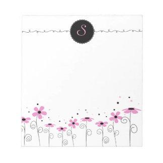 花の風変わりなカスタマイズモノグラムのメモ帳 ノートパッド