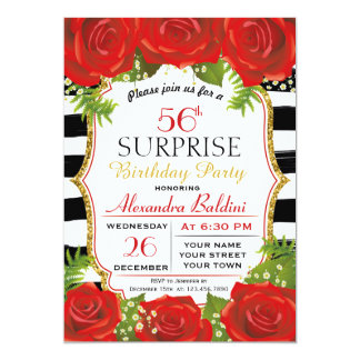 花の驚きの誕生日のパーティの招待状 カード