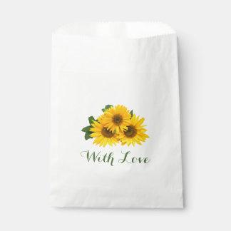 花の黄色いヒマワリの緑愛結婚式の花 フェイバーバッグ