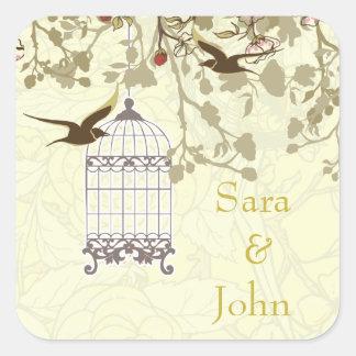 花の黄色い鳥籠、愛鳥の封筒用シール スクエアシール