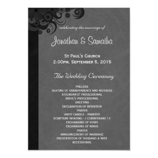 花の黒いおよび灰色のゴシック様式結婚式プログラム 12.7 X 17.8 インビテーションカード