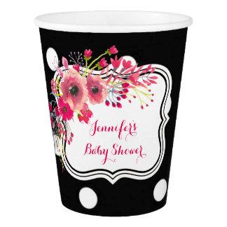 花の黒い水玉模様のファッションのベビーシャワー 紙コップ