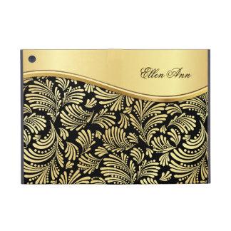 花の黒い金ゴールドのフォリオiPad Mini iPad Mini ケース