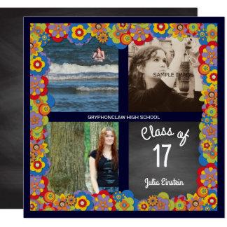 花の黒板の女の子の写真の卒業パーティー 13.3 スクエアインビテーションカード