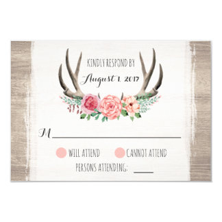 花の(雄ジカの)枝角の素朴な結婚式名前入りなRSVP 8.9 X 12.7 インビテーションカード