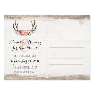 花の(雄ジカの)枝角の素朴な結婚式 の保存日付 ポストカード