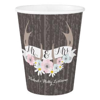 花の(雄ジカの)枝角 + コップを結婚するBarnwood 紙コップ