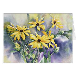 花のBlackeyedスーザンの水彩画の挨拶状 カード