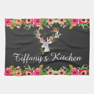 花のBohoのシカのモノグラムの名前の台所 キッチンタオル